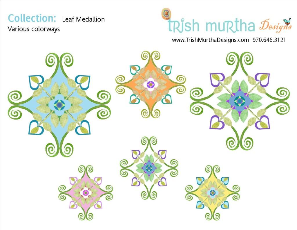Collection Sheet - Leaf Medallion Colorways