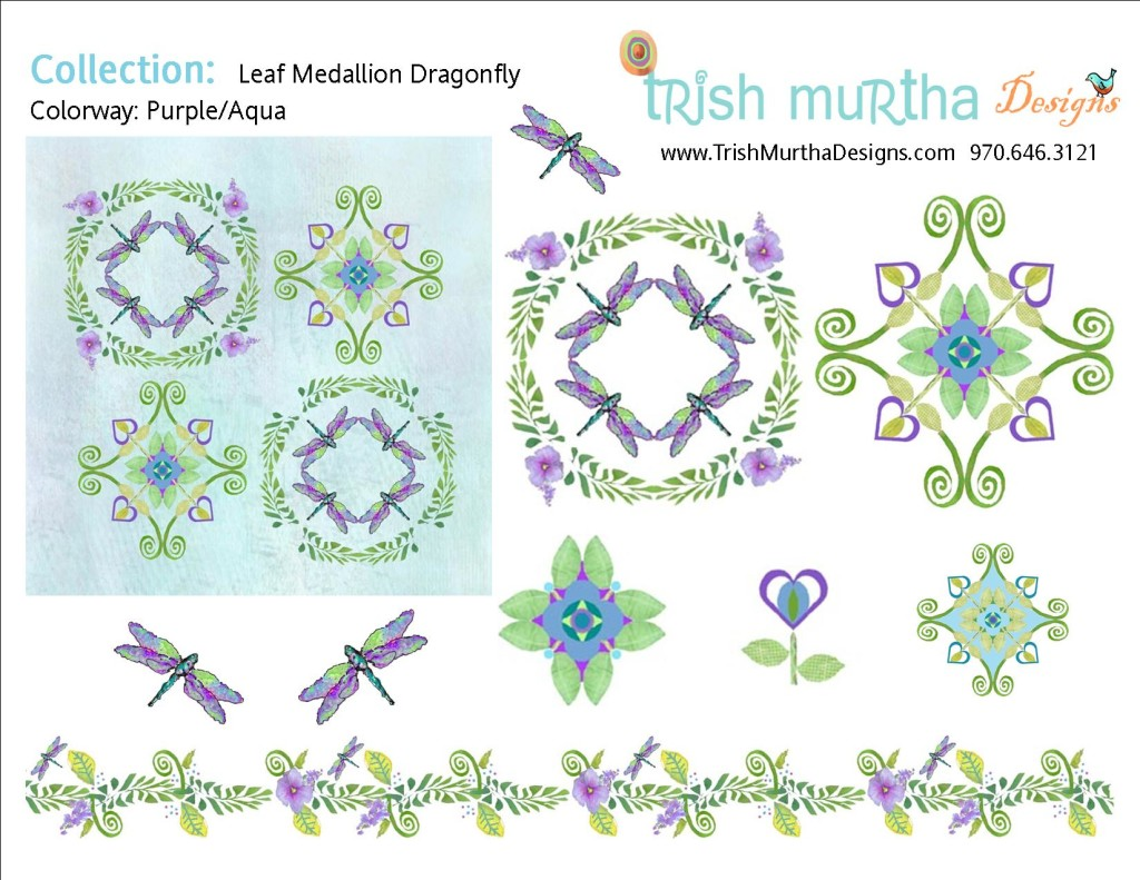 Collection Sheet - Leaf Medallion Dragonfly - Purple Aqua- TrishMurthaDesigns